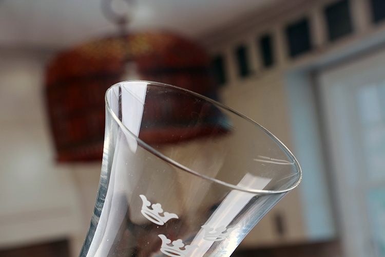 Champagne glasses with logo