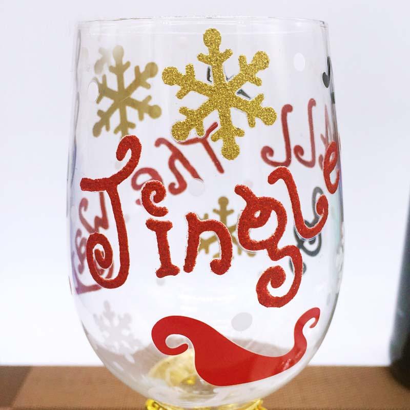 Custom Patterns Hand Painted Christmas Tree Wine Glasses