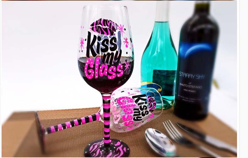hand painted birthday wine glasses