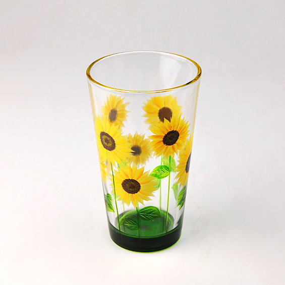 hand painted glass tumbler