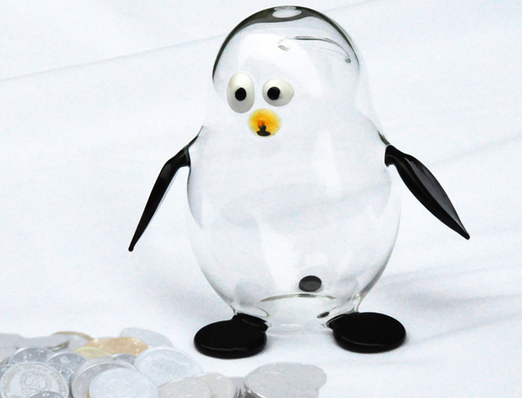 Creative new arrival penguin borosilicate glass coin box glass storage jars preserving jars wholesaler