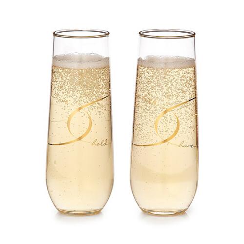 Gold Rim Stemless Champagne Flutes Supplier