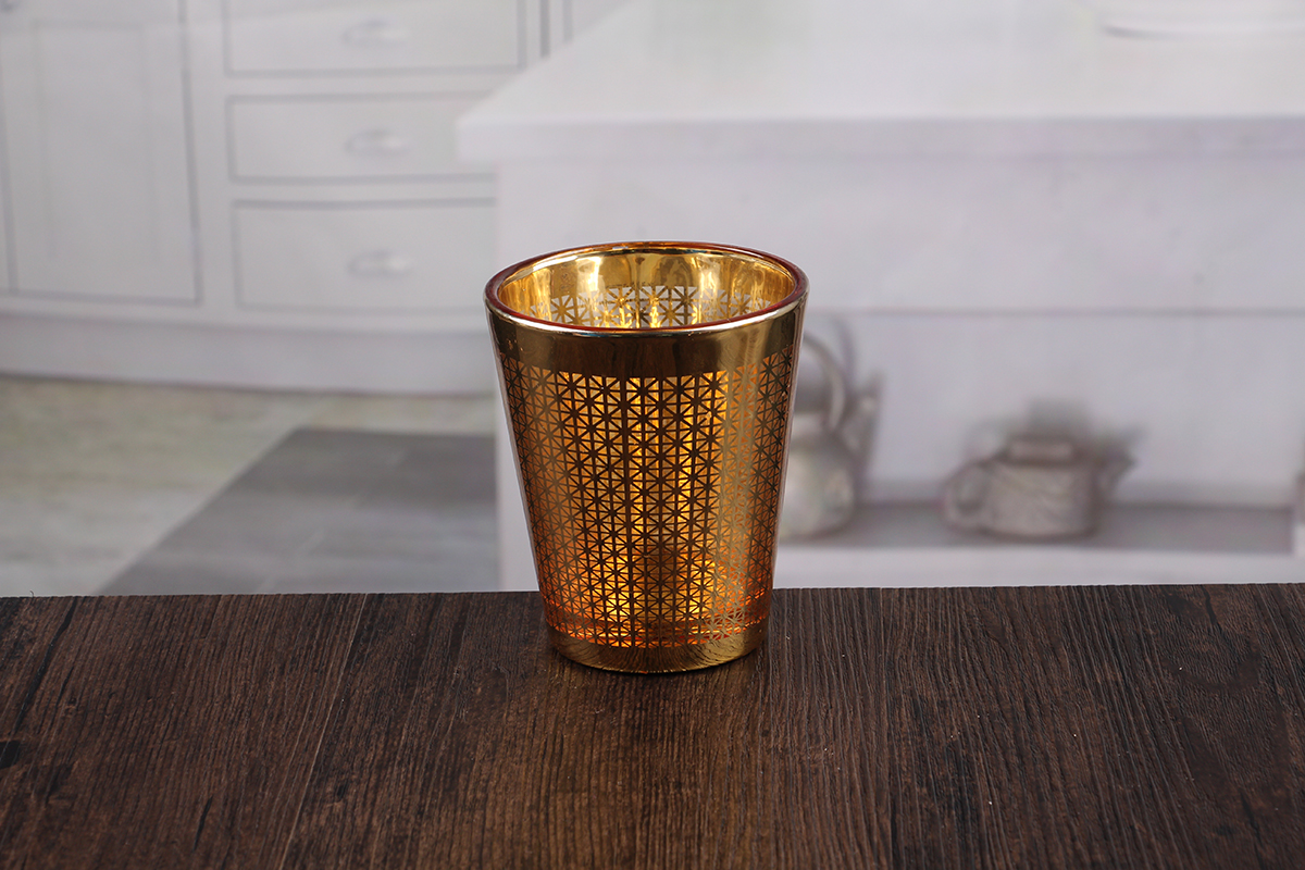 golden glass candle holder