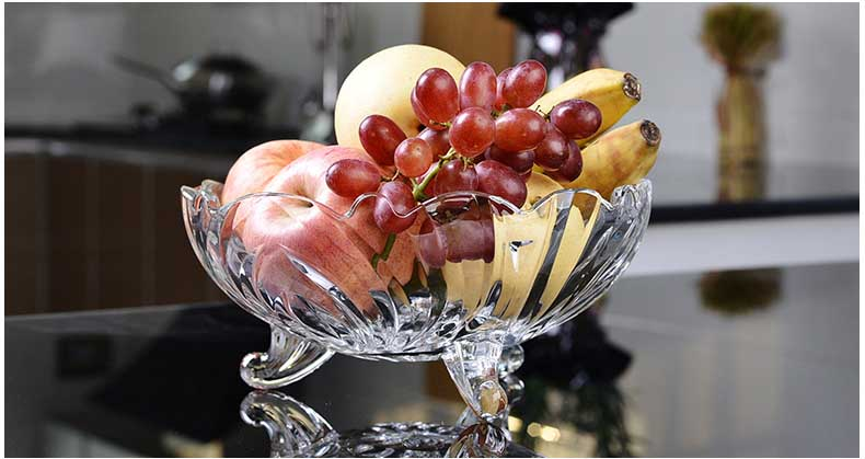 European big glass bowls with feet, fruit bowls wholesale