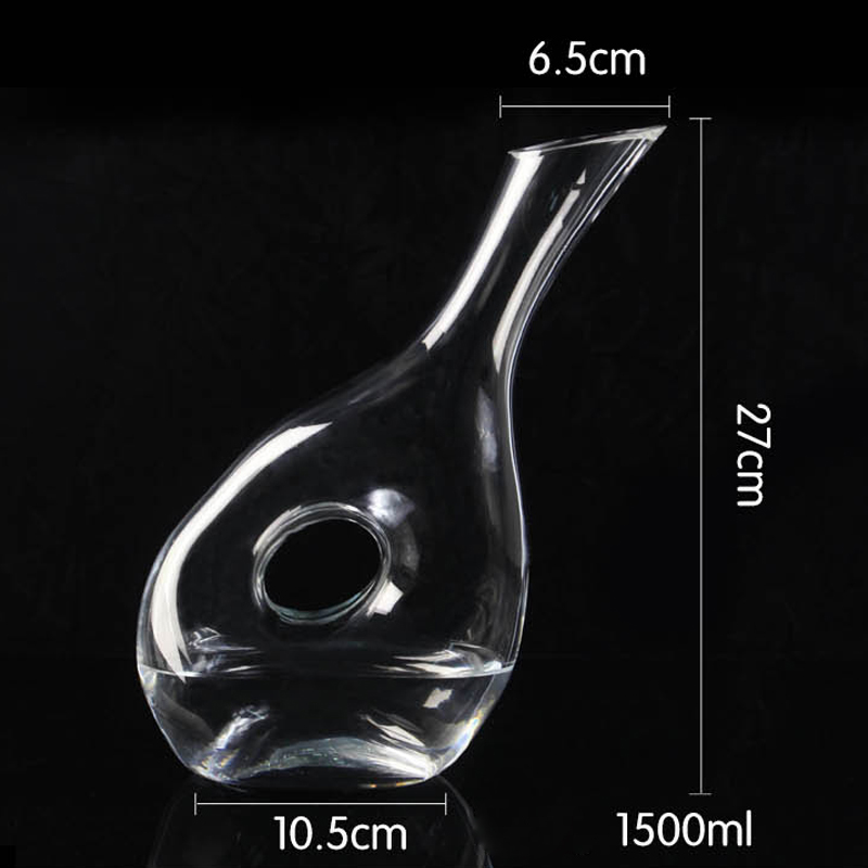 Glass decanter with hole
