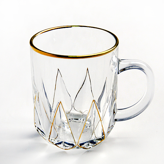 New product gold rimmed glass coffee cup clear glass mugs tall coffee mugs manufacturer