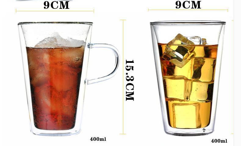 Heat resistant double glass cup