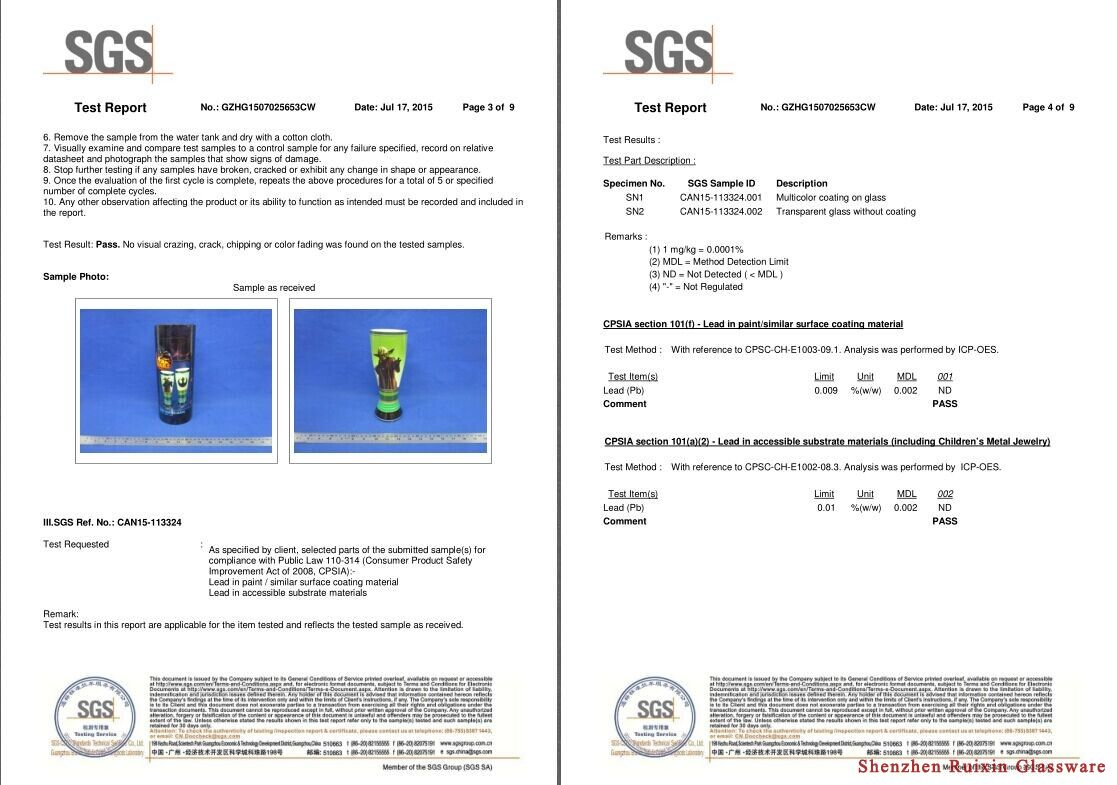 certificates, china glassware,glassware manfuacturer