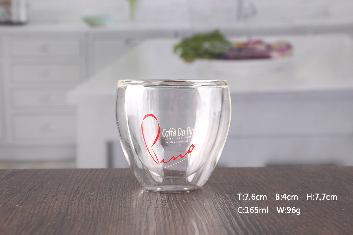 OEM Hand blown 160ml double walled glass cups wholesale