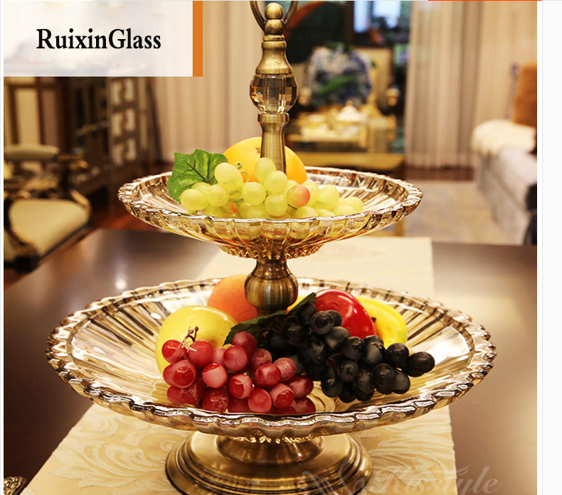 double plated glass fruit bowl