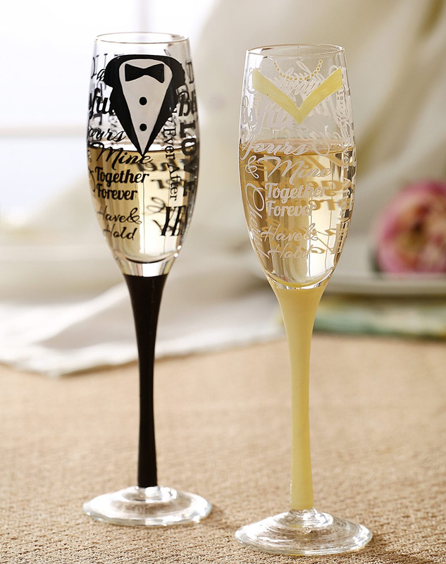 etched champagne glasses