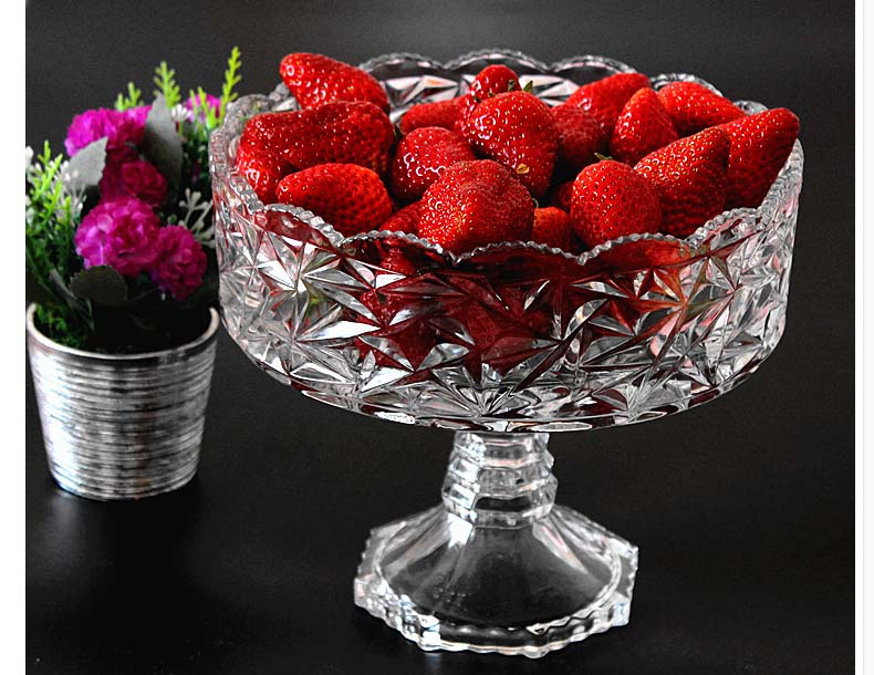 Tall glass fruit bowl