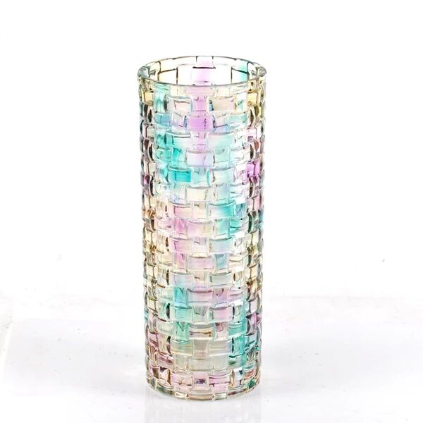 Continental color straight electroplated glass vase wholesale