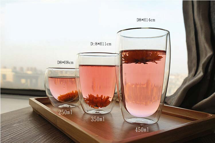 Heat resistant glass tea cup