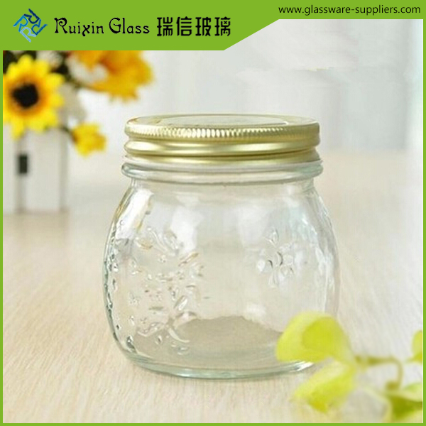 Embossed Glass Jam Jars