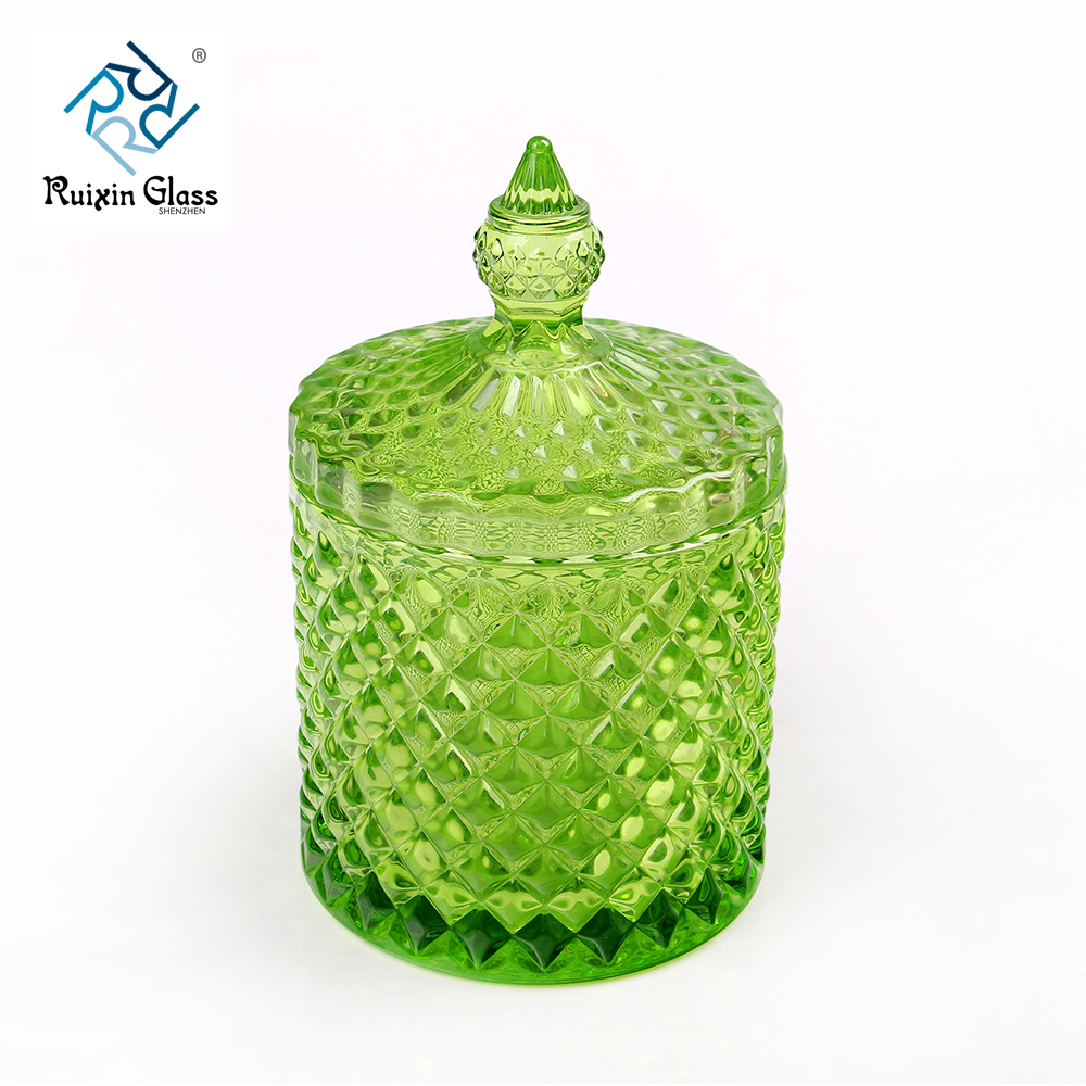 colored candle jar with lid