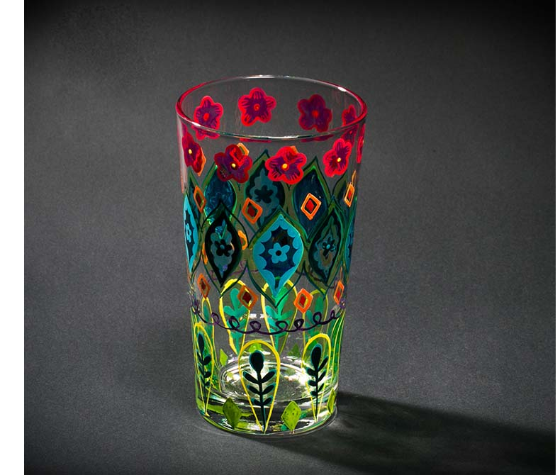 painted glass cup
