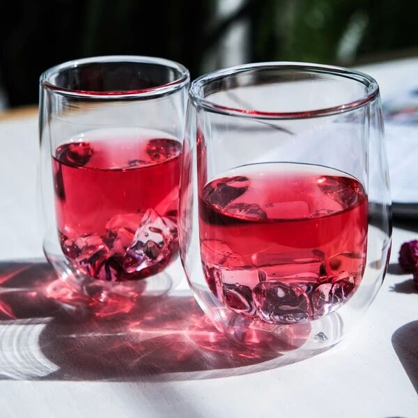 Double wall glass tea cups