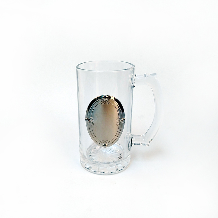 OEM customized beer glass with metal badge