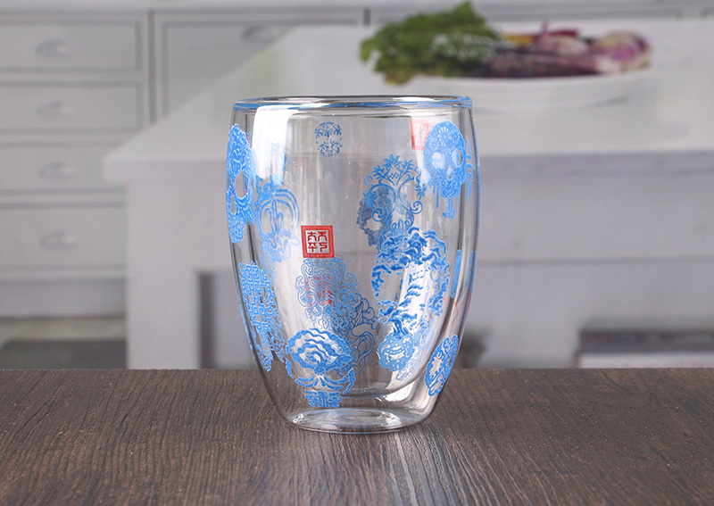Double Wall Decaled Glass Cups