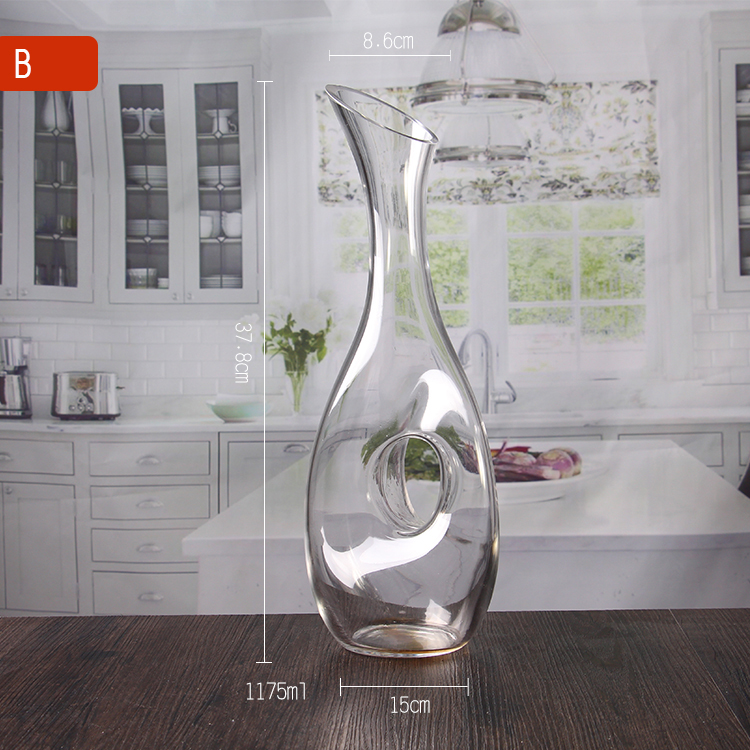 Clear glass decanter with handle