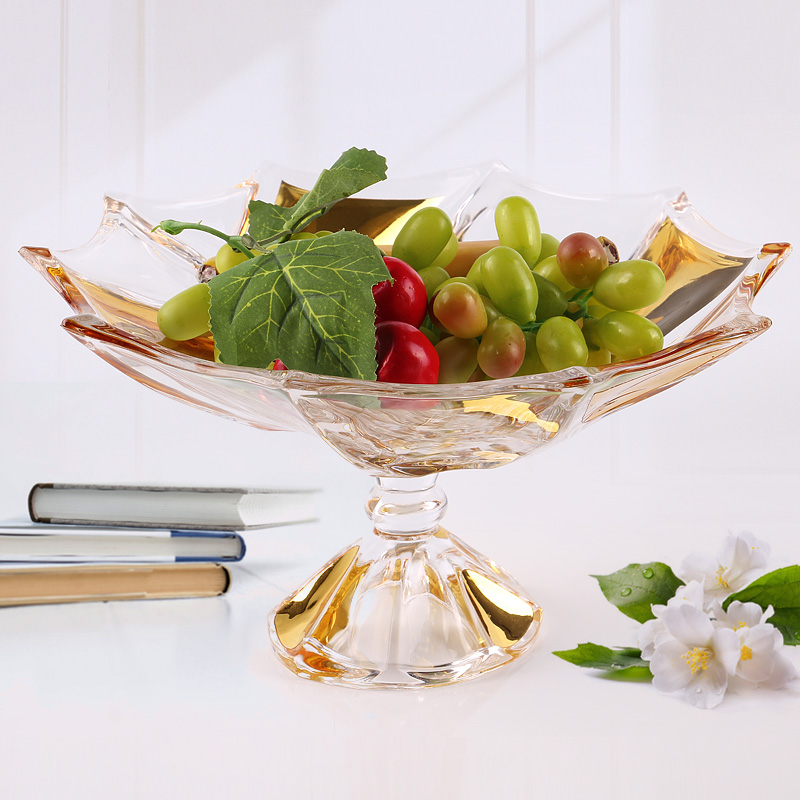 Glass fruit plate for sale,  dessert  dried fruit glass dish wholesale