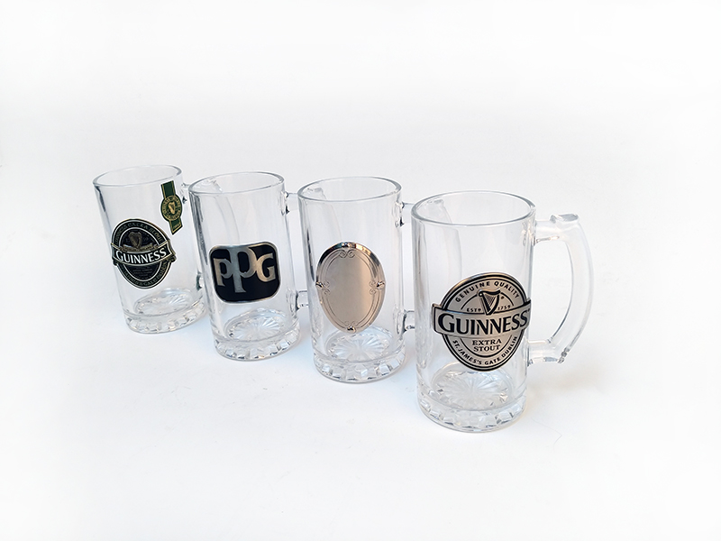 metal logo beer mugs