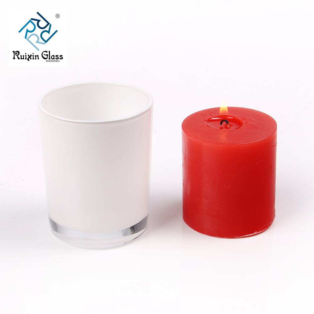 Chinese factory wholesale white glass candle jars