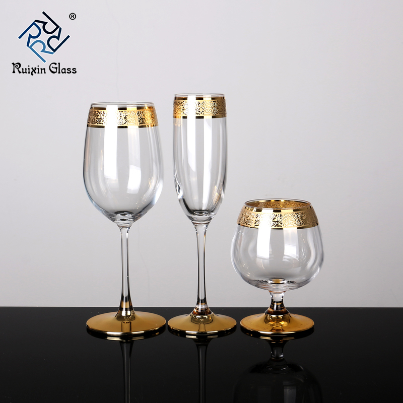 10 Customization Gold Rimmed Wine Glasses