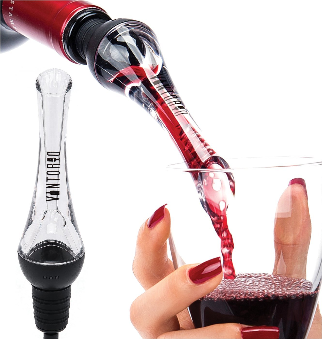 Wine Aerator Premium Aerating And Decanter Spout Black