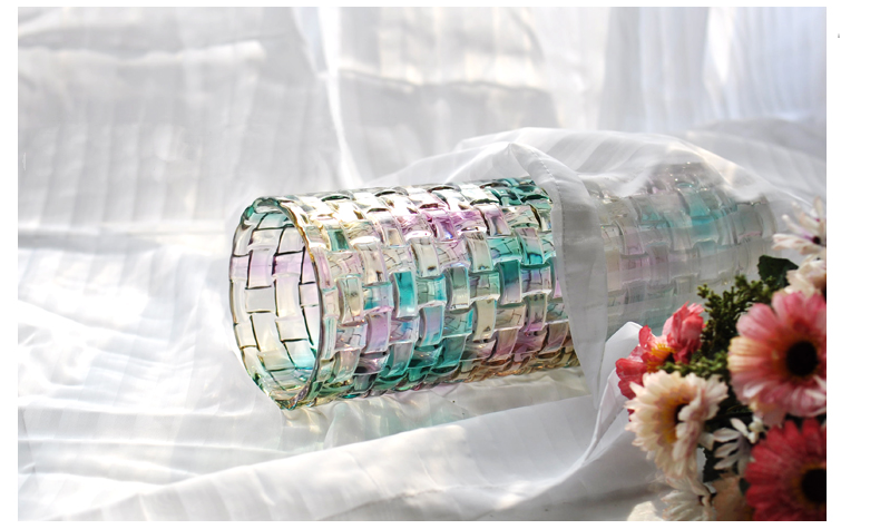 color straight electroplated glass vase
