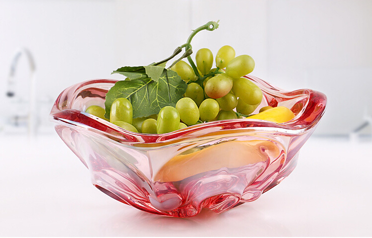 Red Glass Fruit Plate Set