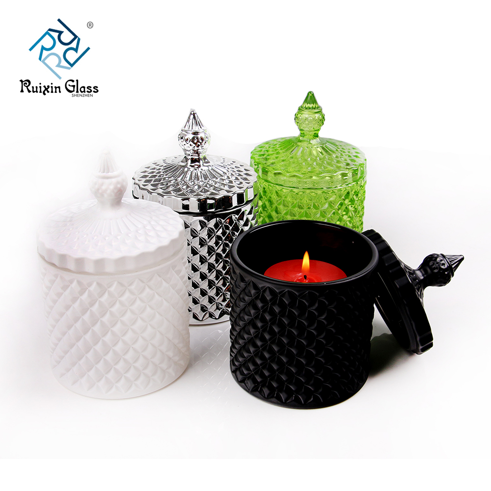 Chinese factory wholesale colored candle jar with lid