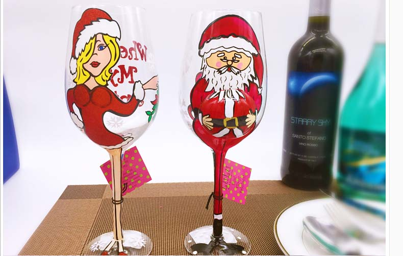 hand painted christmas wine glasses