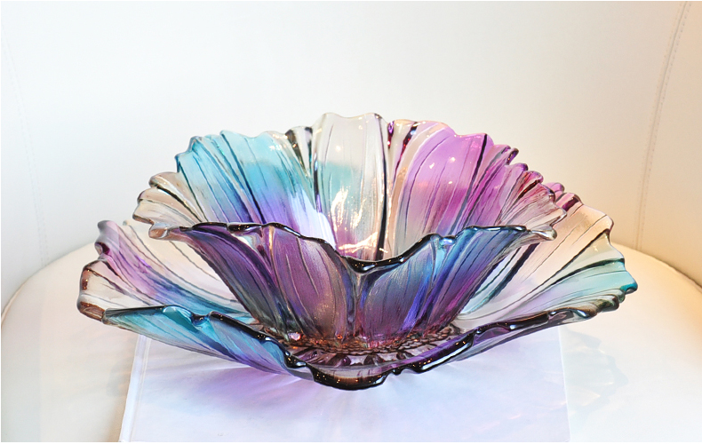 High quality colorful crystal glass fruit bowl