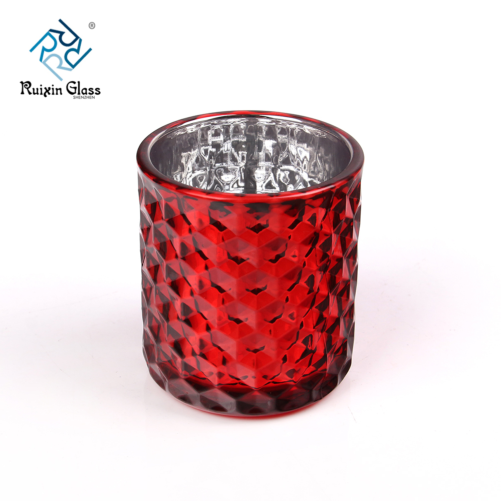 Red Cylinder 10OZ Diamond Pattern Candlestick Holder Supplier