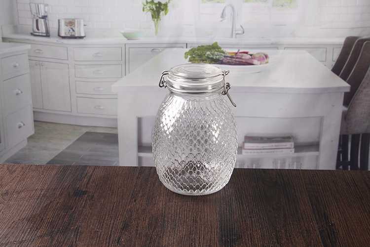 2000ml glass jar with clip lids