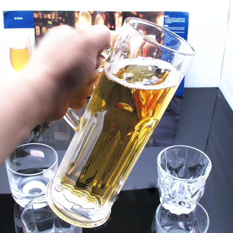 large glass beer mug