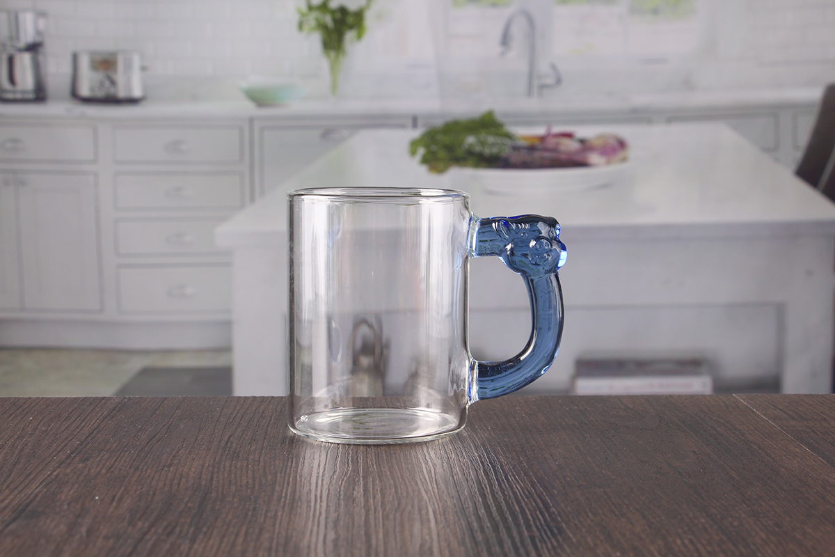 400ml Large Glass Mug With Blue Handle Wholesale Suppliers