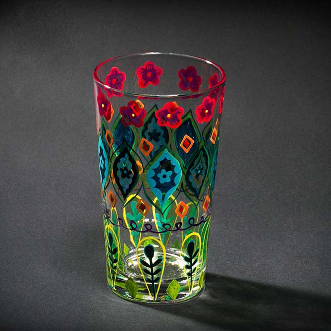 Hand painted coloured glass cup