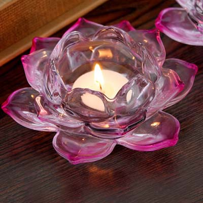 pink crystal lotus candle holder