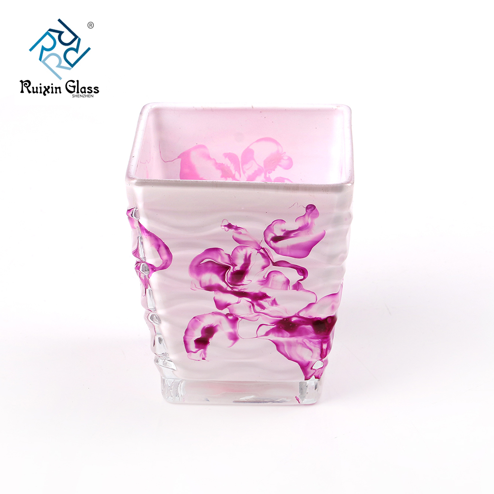 Pattern square glass 10OZ candle holder supplier