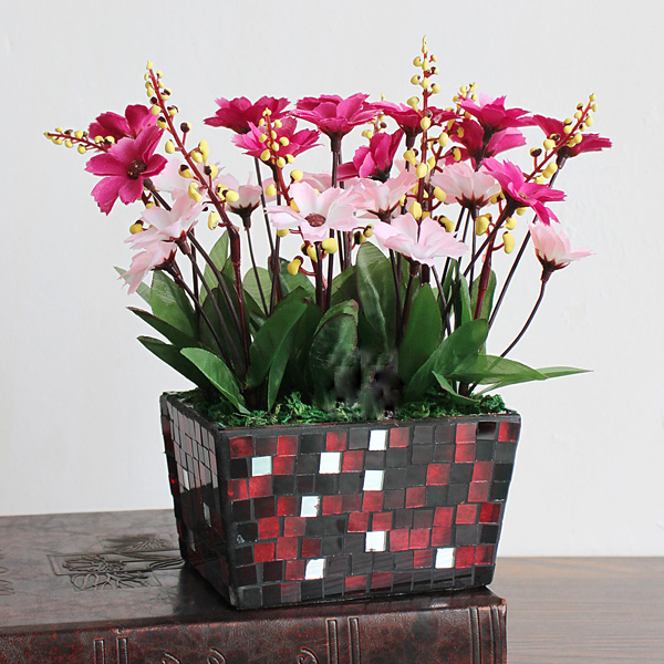 mosaic glass flower pot