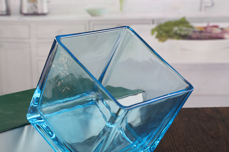 Blue Square Glass Candle Holders