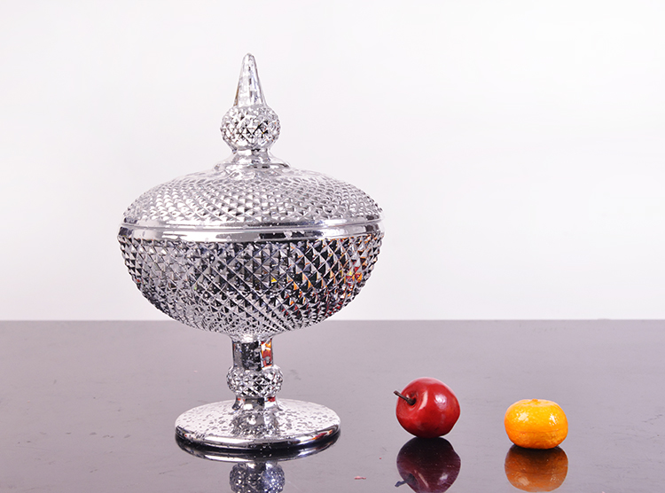 silver electroplating glass candy bowl
