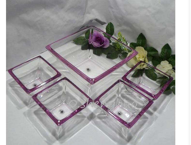 Square glass bowl suits transparent glass fruit plate supplier