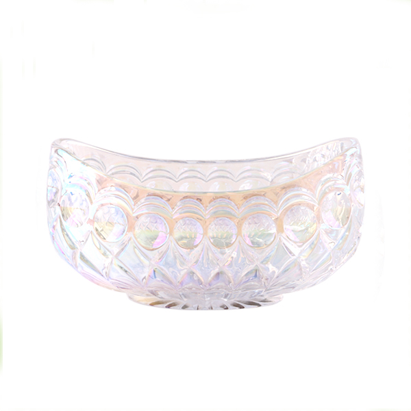 electroplated boat shaped glass fruit bowl