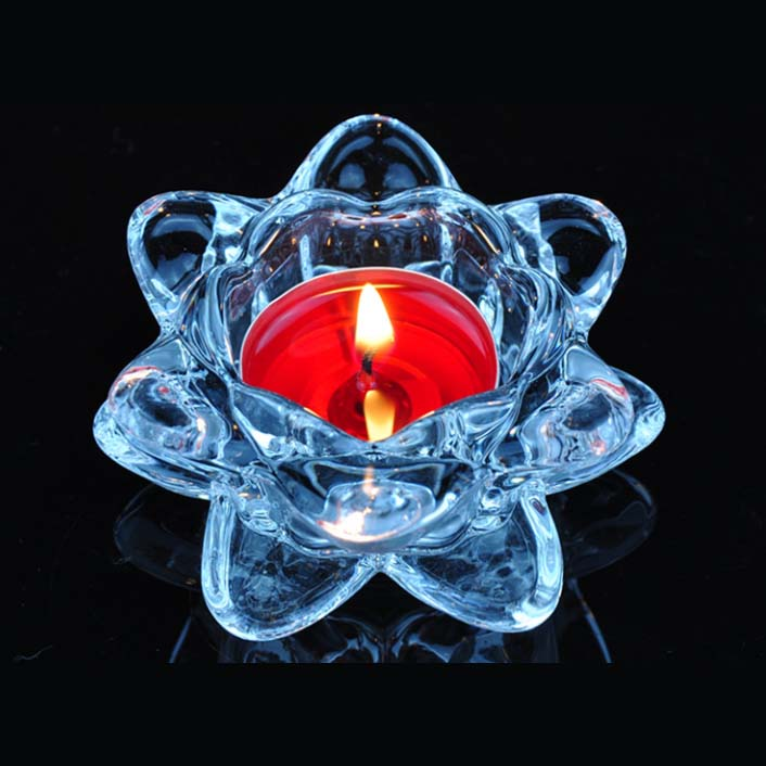 Blue lotus glass candle holder