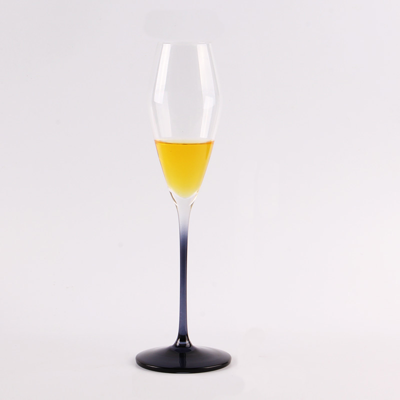blue glass champagne flutes