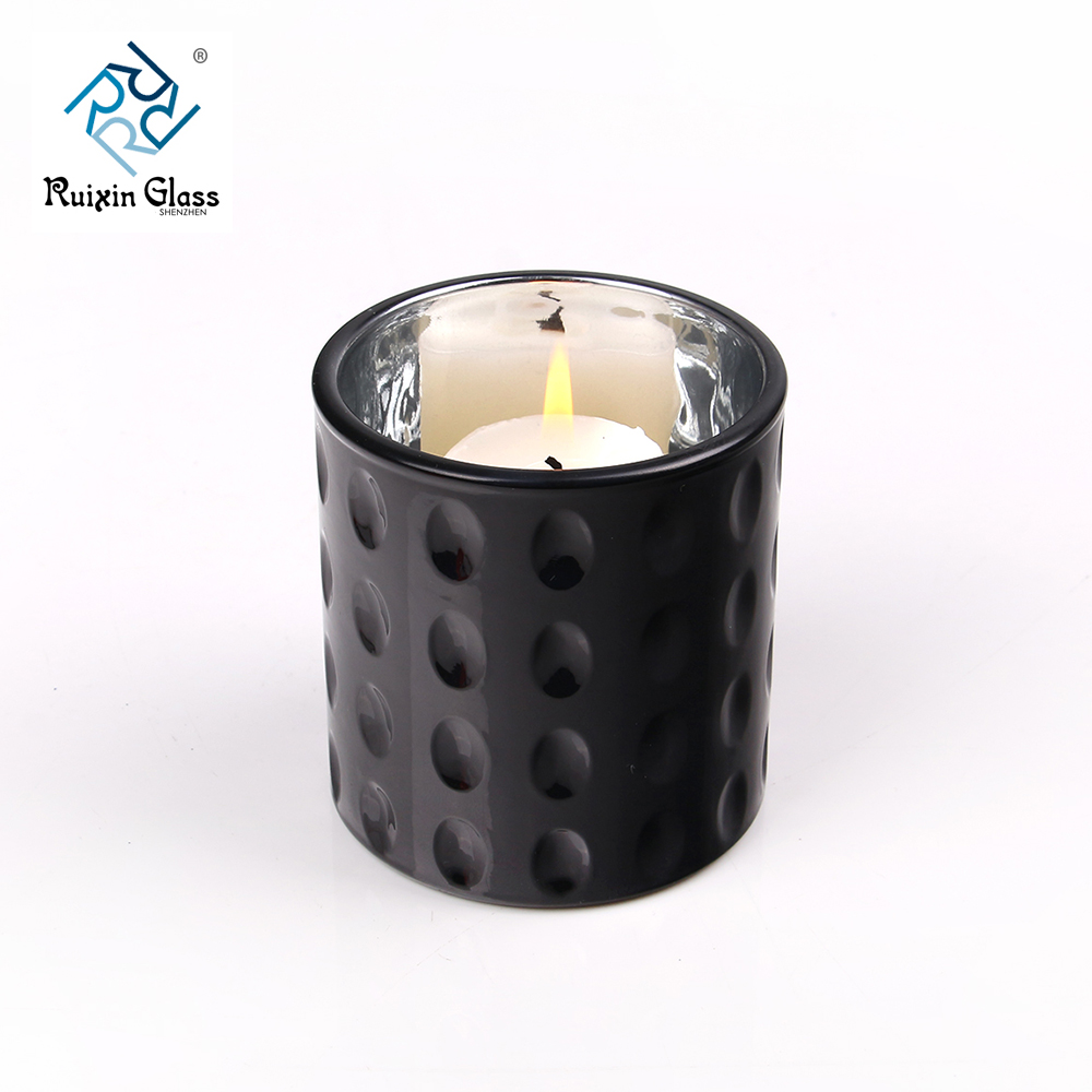Matte black 8oz glass candle holder